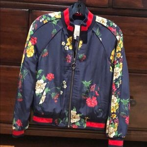 Joie bomber jacket. Navy silk with flowers.